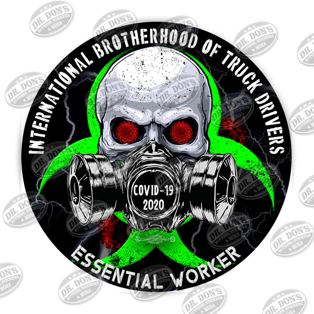 Truck Drivers Skull Gas Mask Essential Worker Hard Hat Sticker Sticker