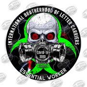 Letter Carriers Skull Gas Mask Essential Worker Hard Hat Sticker Sticker
