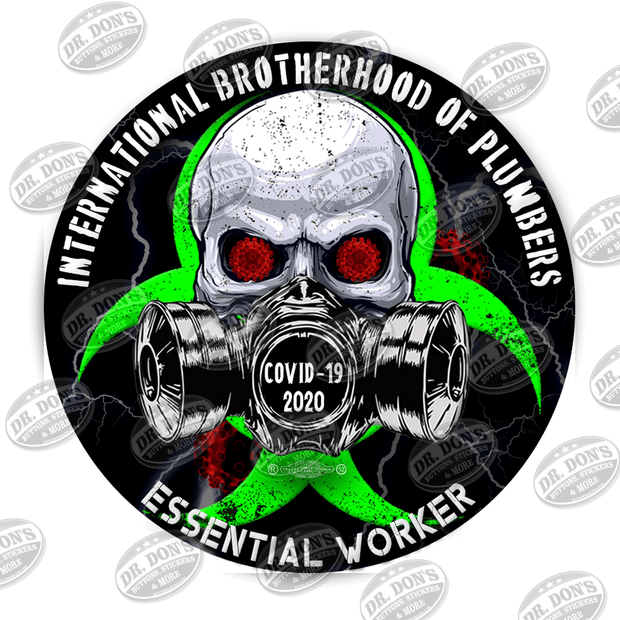 Plumbers Skull Gas Mask Essential Worker Hard Hat Sticker Sticker