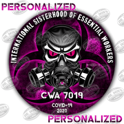 Personalized Sisterhood of essential workers vinyl stickers Purple with skull and gas mask