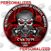 Personalized Brotherhood of essential workers vinyl stickers Red with skull and gas mask