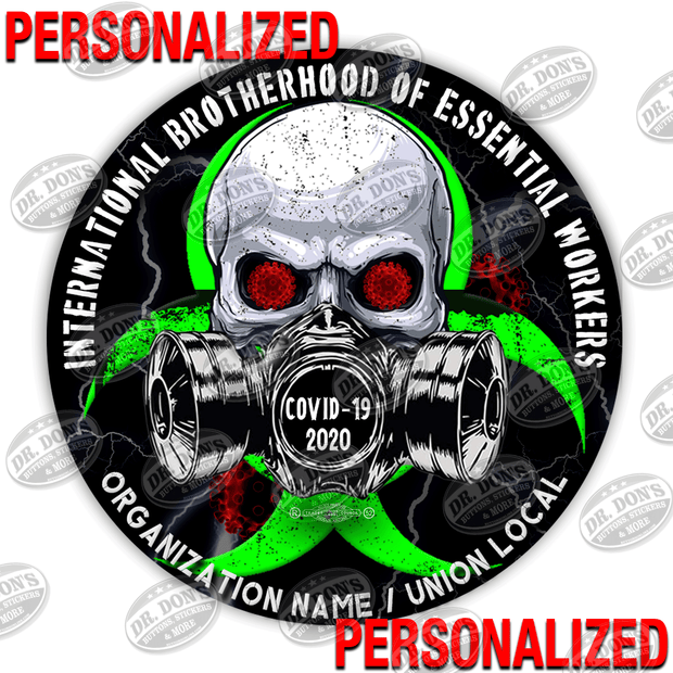 Personalize this Sticker. International Brotherhood of Essential Worker Hard Hat Decal Stickers
