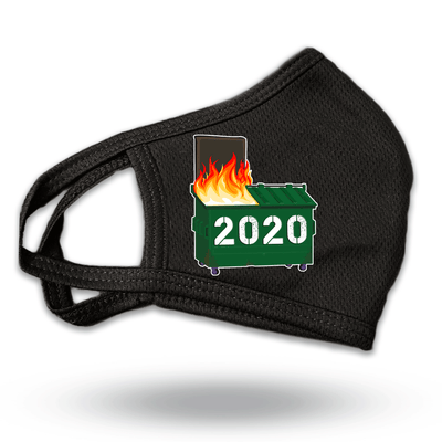 Dumpster Fire 2020 Black Reusable Face Covering Mask