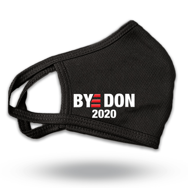Biden Face Mask, BYE DON 2020, Black with white text and red E, JB-mask-5