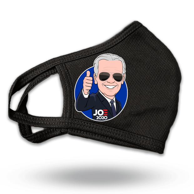 Joe Biden caricature thumbs up black mask, JB-Mask-2