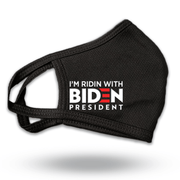 I'm Ridin With Biden President, white text with red E, black face mask, Mask-1