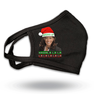 Kamala LA LA LA LA LA Christmas Mask, black with photo and santa hat, JB-Mask-9