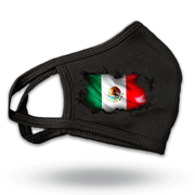 Mexico Flag Breakthrough Reusable Fabric Face Covering