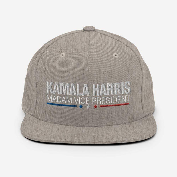 Kamala Harris Madam Vice President snapback hat, white text on heather gray hat, blue white and red stars