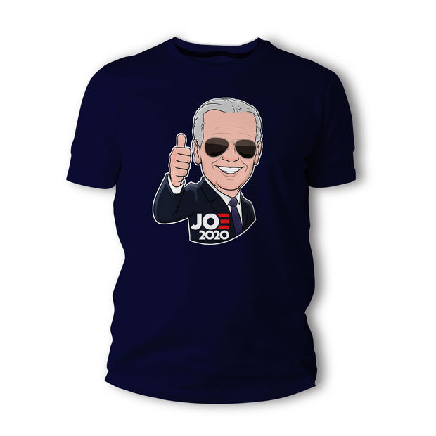 Joe 2020 Caricature Short-Sleeve Unisex T-Shirt, navy blue, text white with red E
