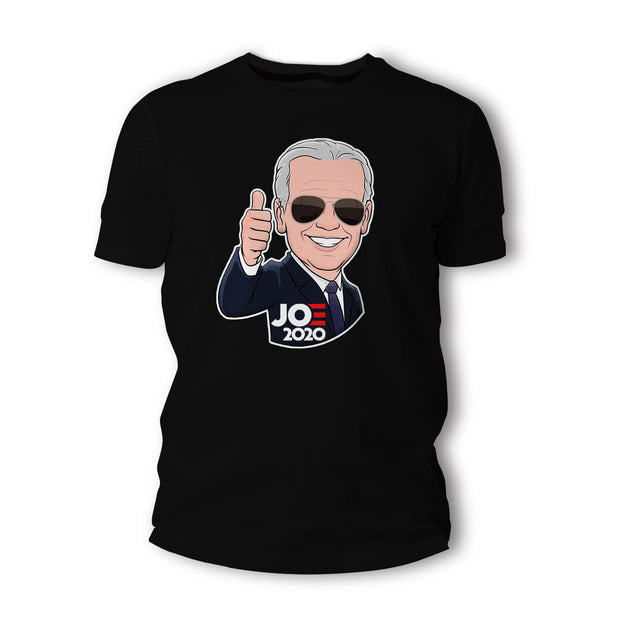 Joe 2020 Caricature Short-Sleeve Unisex T-Shirt, black, text white with red E