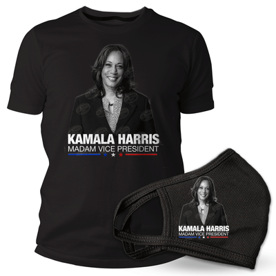 Kamala Harris Madam Vice President Black t-shirt and mask, black and white photo white text, blue, white and red stars