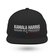 Kamala Harris Madam Vice President snapback hat, white text on black hat, blue white and red stars