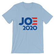Joe 2020 Short-Sleeve Unisex T-Shirt, light blue, text darker blue with red E