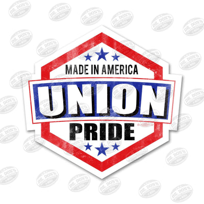 Made in America Union Pride all weather red blue vinyl sticker