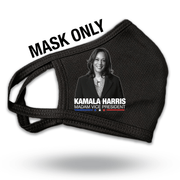 MASK ONLY, Kamala Harris Madam Vice President Black, black and white photo white text,blue, white and red stars