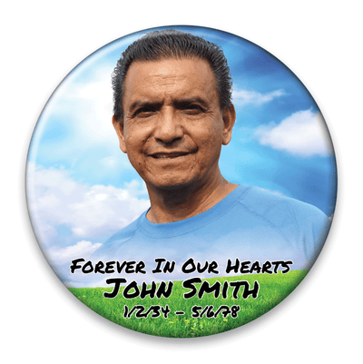 Memorial Photo Button Template - 323 - pinback, clouds, green field