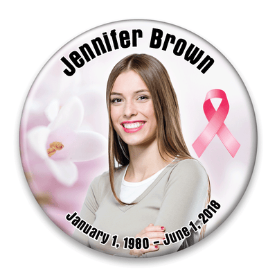 Memorial Photo Button Template - 324 - pinback, breast cancer ribbon, flower