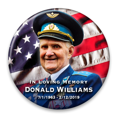 Memorial Photo Button Template - 337 - pinback, flag, military