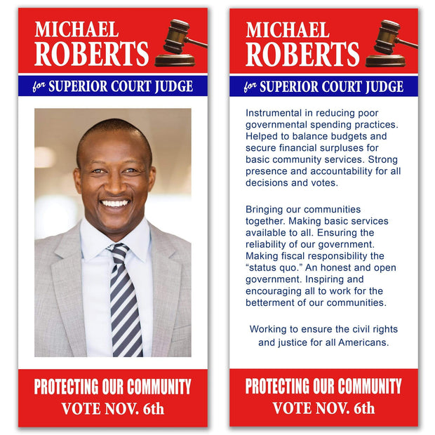 Political Palm Card / Push Card Templates - SET UP ONLY - PC-13 - Buttonsonline