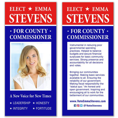 Political Palm Card / Push Card Templates - SET UP ONLY - PC-18 - Buttonsonline
