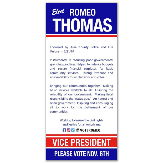 Political Palm Card / Push Card Templates - SET UP ONLY - PC-1 - Buttonsonline