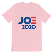 Joe 2020 Short-Sleeve Unisex T-Shirt, pink, text blue with red E