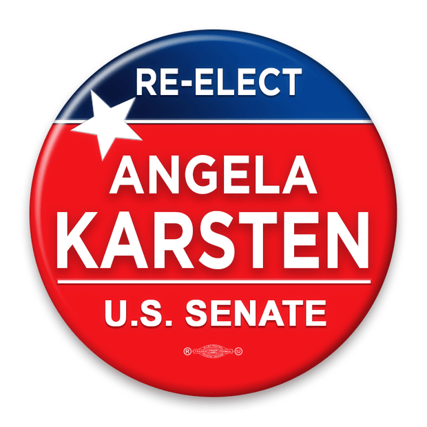Political Campaign Button Template - PCB-102, Pinback, red white and blue, star