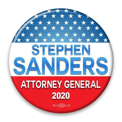 Political Campaign Button Template - PCB-103, pinback, red white and gradient lighter blue, stars