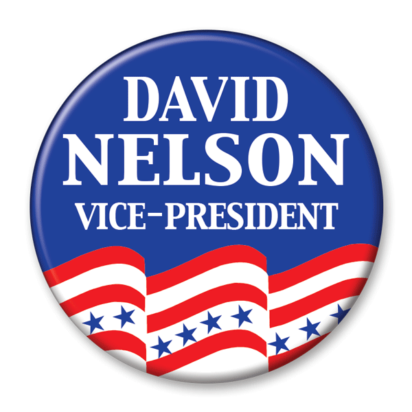 Political Campaign Button Template - PCB-106, pinback, blue with red and white stripes, stars