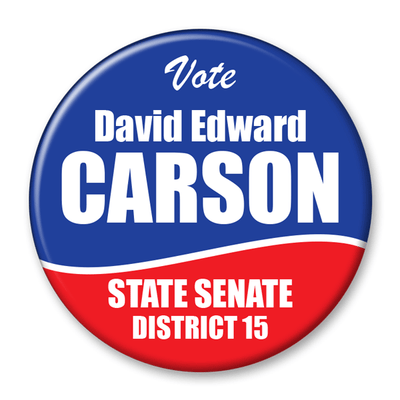 Political Campaign Button Template - PCB-107, pinback red white and blue