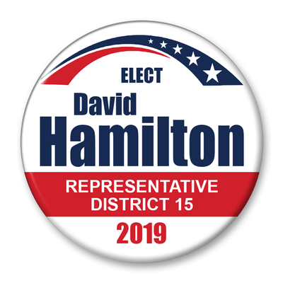 Political Campaign Button Template - PCB-108, pinback, white with red and dark blue, stars