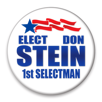 Political Campaign Button Template - PCB-112, Pinback, blue star, red streamers