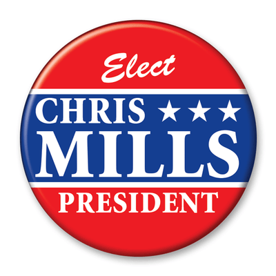 Political Campaign Button Template - PCB-115, pinback, stars, red white and blue