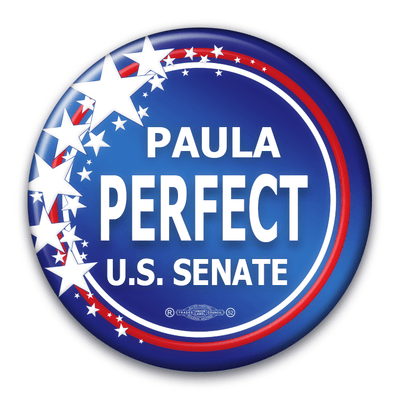 Political Campaign Button Template - PCB-116, Pinback, gradient blue, stars