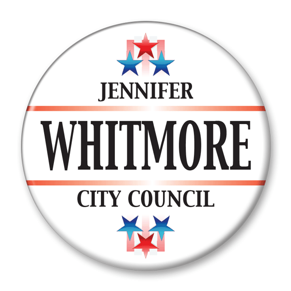 Political Campaign Button Template - PCB-118, pinback, white red bands blue and red stars