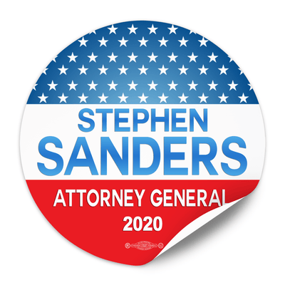 Political Campaign Sticker Template - PCS-103, paper with adhesive back, stars, red white and  gradient lighter blue
