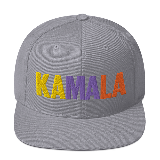 Kamala Harris 2020 Snapback Hat , Yellow, purple and orange letters on  silver/gray