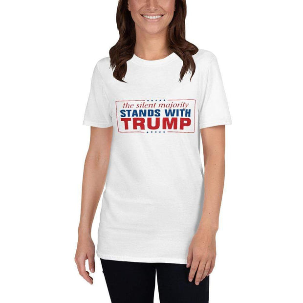 Woman wearing The silent Majority Stands with Trump 2020 White T Shirt