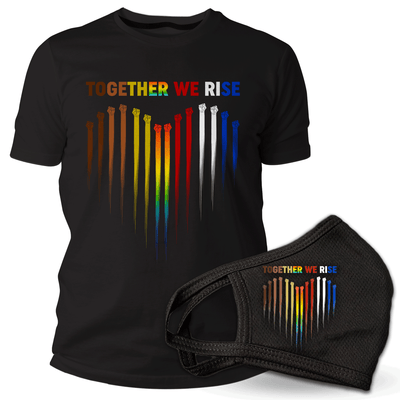 Together we Rise bundle, t-shirt and mask , colorful heart with fists
