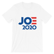 Joe 2020 Short-Sleeve Unisex T-Shirt, white, text  blue with red E