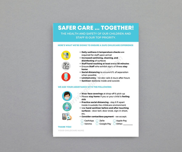 Safer Care Together - COVID-19 Poster - For Childcare Providers {INSTANT PRINTABLE DOWNLOAD}
