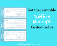 CHILDCARE TUITION RECEIPT - Tuition Receipt for Childcare Services {INSTANT PRINTABLE DOWNLOAD}