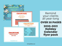 Full 2020-2021 Childcare Holiday Calendars Flyer Pack {INSTANT PRINTABLE/DOWNLOAD}