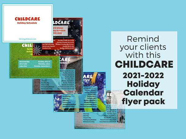 Full 2021-2022 Childcare Holiday Calendars {INSTANT PRINTABLE/DOWNLOAD}