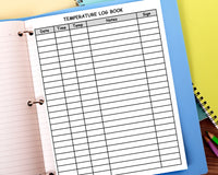 Temperature Log Book - For Childcare Providers {INSTANT PRINTABLE DOWNLOAD}