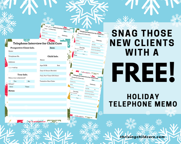 Christmas Childcare Telephone Memo {INSTANT PRINTABLE/DOWNLOAD}