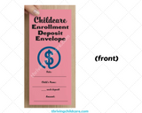 Childcare Enrollment Deposit Envelopes