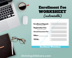 ENROLLMENT FEE WORKSHEET - Fee Breakdown Worksheet for Childcare Providers and Parents {INSTANT PRINTABLE DOWNLOAD}