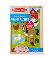 Melissa & Doug Amazing Animals Wooden Jigsaw Puzzles in a Box - 3 puzzles, 12 pcs each - CHILDCARE, DAYCARE, KID'S GIFT, FUNDRAISER